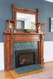 An Antique Mantel And A Newly Installed Colorful Tile Surround Give This Existing Dining Room Fireplace Outfitted With Gas Insert Entirely Fresh Look