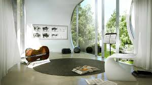 Contemporary Music Room With Curved Windows