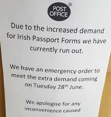 Post fice RUNS OUT of Irish passports forms as Brits scramble