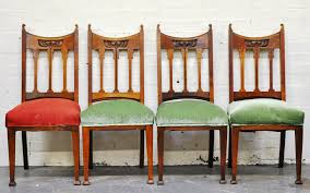 Set Of Four Oak Dining Chairs, With Art Nouveau Carved Lotus Flower ... Set Of 4 Quality Art Nouveau Golden Oak High Slat Back Ding Chairs 554 Art Nouveau Ding Table And Chairs 3d Model Vintage 6 Antique French 1900 Walnut Nailhead Set 8 Edwardian Satinwood Beech Four Art Nouveau Louis Majorelle Ding Chairs Jan 16 2019 Room And Sale Mid Century Hand Made Game By Terry Bostwick Casa Padrino Luxury Dark Brown Cream 51 X Round In The Unique Timeless Tufted Armchair Chair Blue Velvet Navy 1900s Vinterior