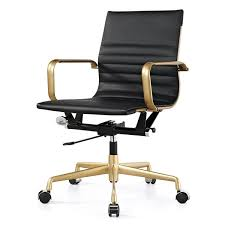 M348 Black Vegan Leather and Gold fice Chair Free Shipping