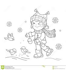 Coloring Page Outline Of Cartoon Girl Feeding Birds Winter Stock Photography