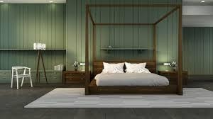 klassisches schlafzimmer interieur grüne wand 3d