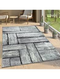 paco home designer wohnzimmer teppich modern holz optik rustikal grau schwarz klingel