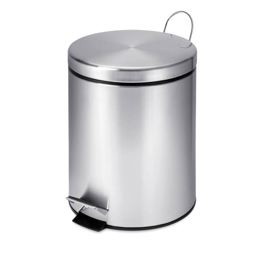 Honey Can Do Round Garbage Step Can - Stainless Steel, 5L
