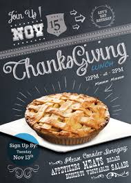 This Thanksgiving Lunch Flyer By Graphic Designer Lamar Flowers Has A Homemade And Cozy Appearance The Chalkboard Look Various Creative Typefaces Are