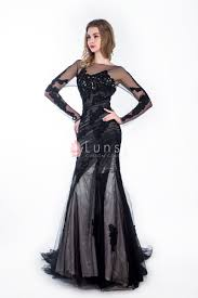 black lace appliqued sheer long sleeve mermaid prom dress lunss