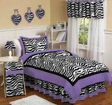 Black And Purple Color Combination For Bedroom Decorating With Zebra Pattern