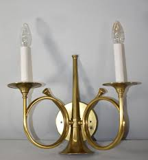 Frederick Cooper Table Lamps Brass by Frederick Cooper Brass Hunting Horn Two Socket Wall Sconce
