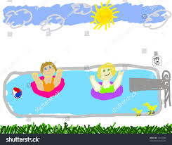Childs Drawing Of A Summer Swimming Pool Party