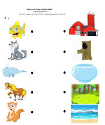 Matching Animals To Their Worksheets For Kids Crafts Actvities And