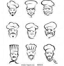 Royalty Free Clip Art Vector Logos of Black and White Male Chefs