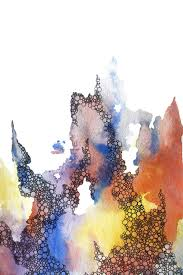 Abstract Watercolor Art Print In Red Yellow Purple Blue 2500 Via