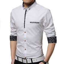 Shirt Men 2017 New Slim Casual Long Sleeved Solid Color Floral Fashion Hit Large Size M 4XL