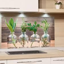 küchenrückwand glas küche motiv kräuter holzoptik