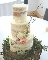 Fresh Flowers Wedding Cake Semi Naked