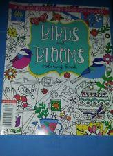 Item 2 BIRDS AND BLOOMS COLORING BOOK 2016 ISSUE Adult Stress Relief