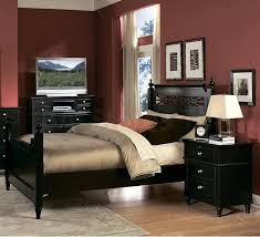 Design Splendid Black Side Table And Nice Wooden Bed Idea For Traditional Dark Red Bedroom Sets