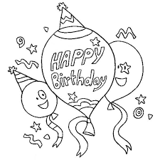 Three Happy Birthday Baloon Coloring Page