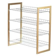 honey can do 4 tier 18 pair wood and metal accessory rack sho
