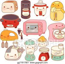 Set Of Adorable Kitchen Appliances Cute Kettle Lovely Oven Sweet Blender Isolated On