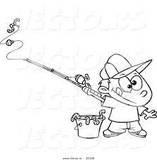 Vector Of A Cartoon Fishing Boy With Bucket Worms