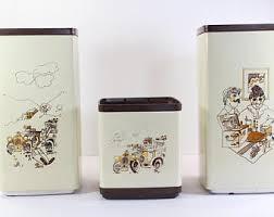 Vintage Kitchen Canister Set 3 Piece 1970s