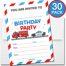 100 Fire Truck Birthday Party Invitations 30 With Envelopes Kid Boy
