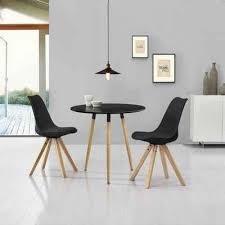 en casa essgruppe 3 tlg camille küchentisch rund ø80cm mit 2x stühlen kunstleder