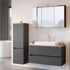 moderne badmöbel kombination in dunklem grau wildeiche