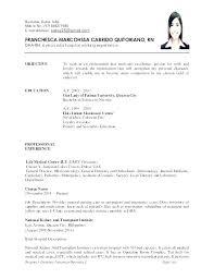 Curriculum Vitae Format Job Application For Sample Resume Example Of Nurs