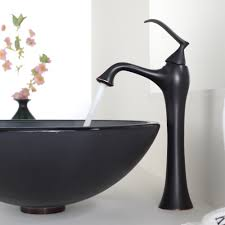 Brushed Bronze Bathroom Faucets by Modern Black Matte Single Handle Bathroom Faucet Over A Black Sink