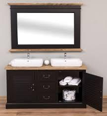 casa padrino landhausstil badezimmer set schwarz naturfarben 1 doppelwaschtisch 1 wandspiegel landhausstil badezimmer möbel
