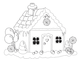 Beautiful Gingerbread House Coloring Page Christmas