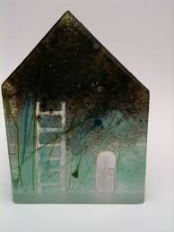 100 Cast Of Glass House Lead Crystal Sand Cast Glass HOUSE ART Art Ceramic Houses