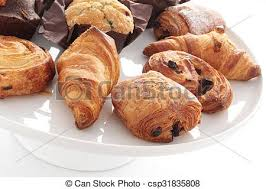 Mixed Pastries Croissants Pain Au Chocolate Stock