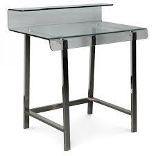 bureau en verre en verre pieds métal chromé cyber l 85xp 56xh 90cm