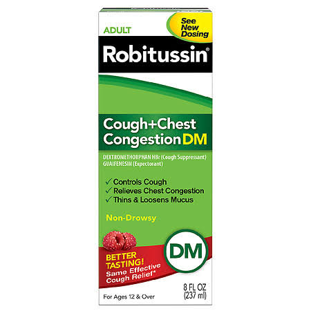Robitussin DM Cough + Chest Congestion, Non-Drowsy, Adult - 8 fl oz