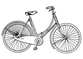 Coloring Page Ladies Bicycle