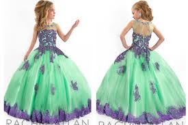 handmade pageant dresses for girls lace applique spaghetti purple