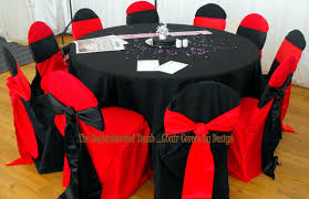 Red And Black Alternating Chair Covers With Red And Black Satin ... Black Tablecloths White Chair Covers Holidays And Events White Black Banquet Chair Covers Hashtag Bg Sashes Noretas Decor Inc Cover Stretch Elastic Ding Room Wedding Spandex Folding Party Decorations Beautifull Silver Sash Table Weddings With Classic Set The Mood Joannes Event Rentals Presyo Ng Washable Pink Wedding Sashes Napkins Fvities Mns Premier Event Rental Decor Floral Provider Reception Room Red Interior