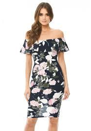 women u0027s navy printed floral bardot midi dress ax paris usa