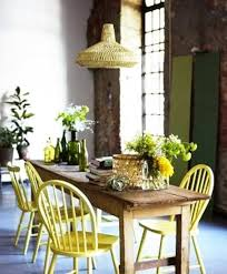 Dining Room Decorating With Window Curtains Furniture Upholstery Fabrics And Cushions In Yellow Green Colors