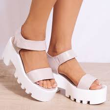ladies strappy open toe chunky platform wedge sandals