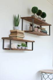 Kalalou Recycled Wood And Metal Shelves Set Of 2decorative Items For Kitchen Decorative Wall