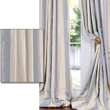 108 Inch Long Blackout Curtains by Exclusive Fabrics Ba Blue Tan Striped Faux Silk Taffeta 108 For