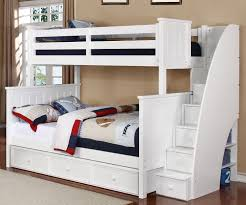 Jeromes Bunk Beds by White Bunk Beds Twin Over Full Stair Look Spacious White Bunk