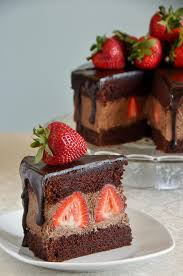 Chocolate Whipped Cream Cake with Strawberries