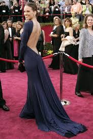Evening Dresses Red Carpet by Hilary Swank Backless Long Sleeve Navy Oscar Red Carpet Evening