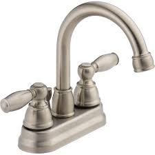 peerless 2 handle lavatory faucet with pop up brushed nickel